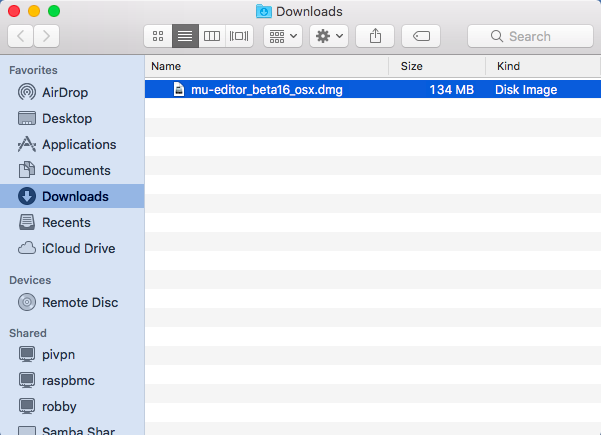 Mac OS downloads